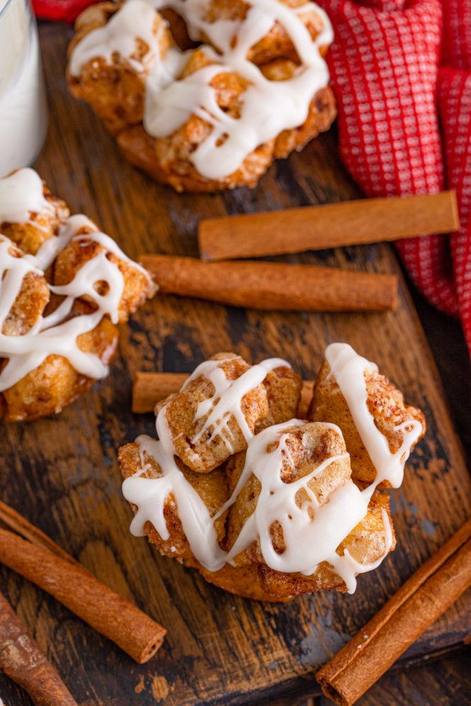 Cinnamon muffin with cream cheese drizzle.