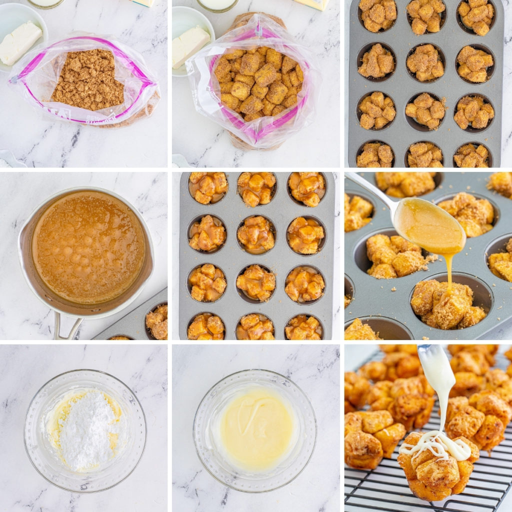 Collage showing how to make monkey bread muffins.