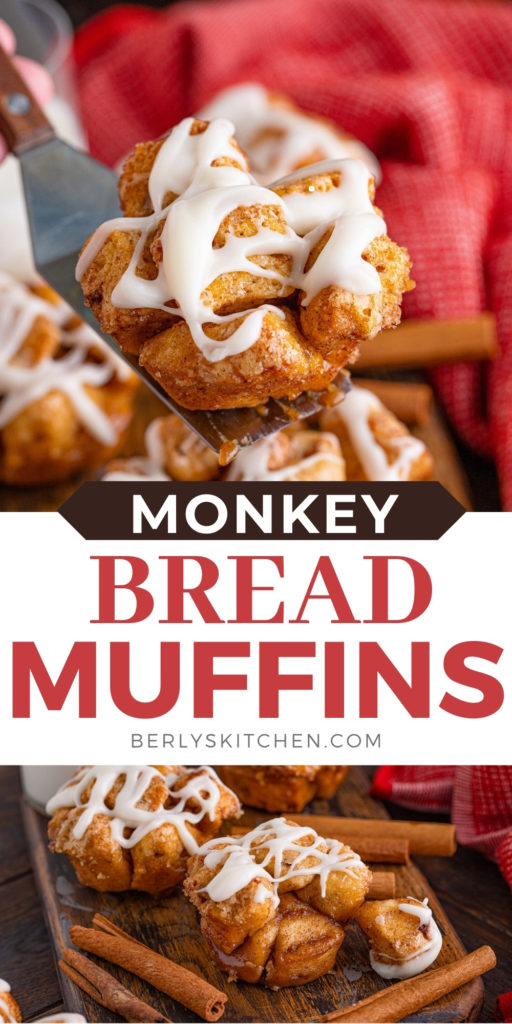 Two photos of monkey bread muffins in a collage.
