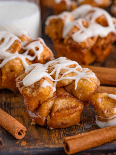 Cinnamon roll muffins with icing.