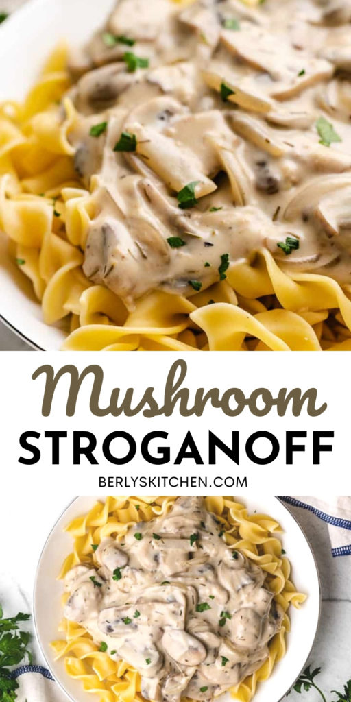 Two photos of mushroom stroganoff in a collage.