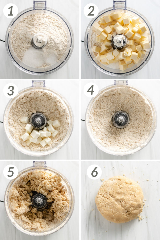 Collage showing how to make pie crust with shortening.