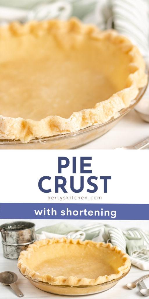 Two photos of pie crust with shortening in a collage.