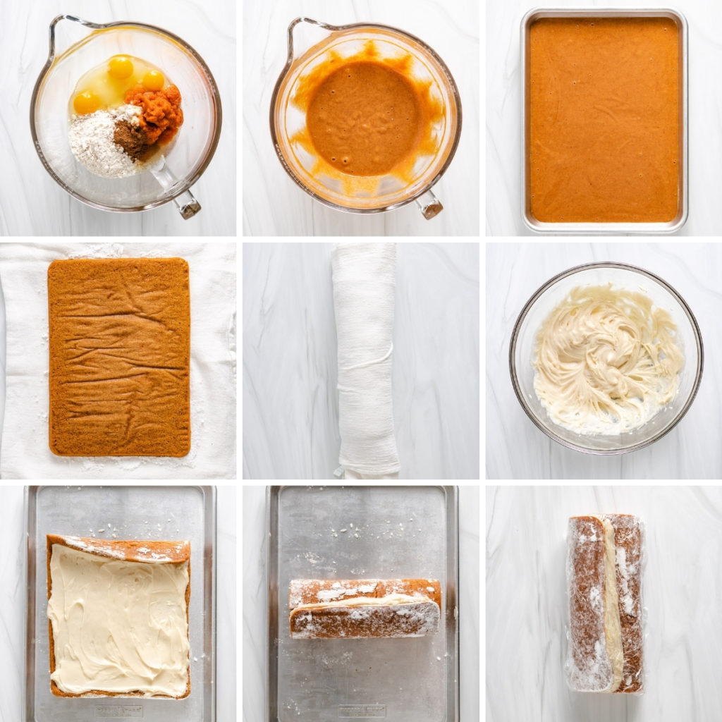 Collage showing how to make a pumpkin roll.