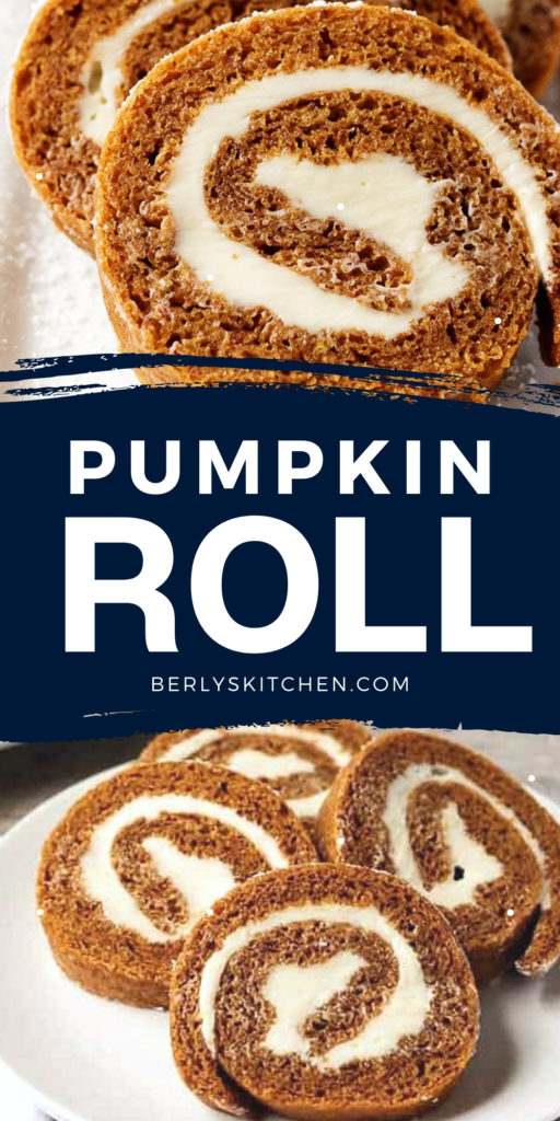 Two photos of pumpkin roll in a collage.