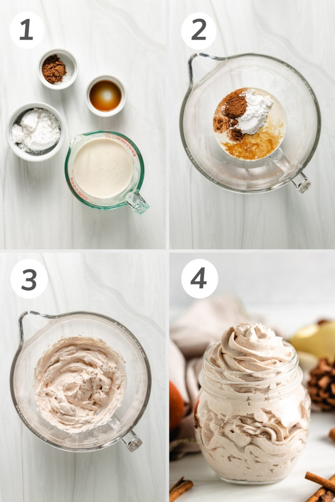 Collage showing how to make pumpkin spice whipped cream.