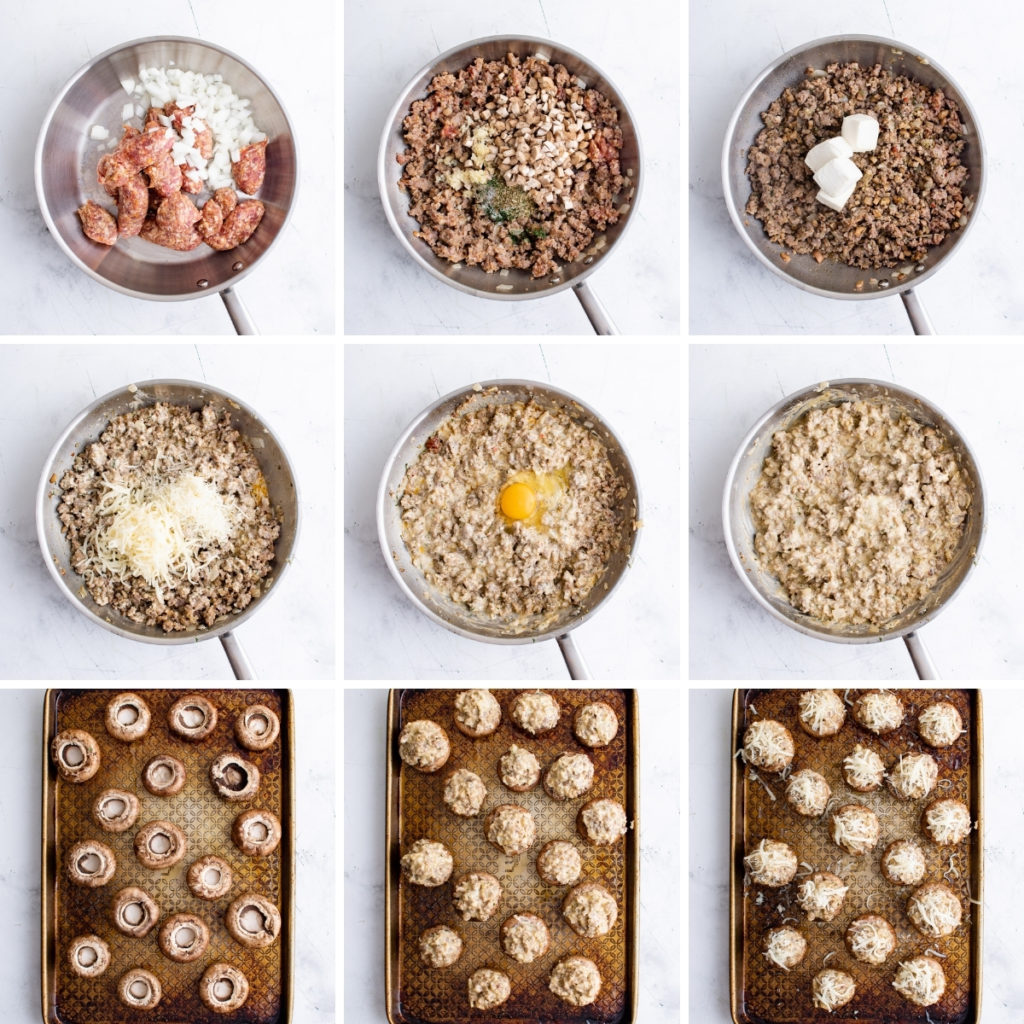 Collage showing how to make stuffed mushrooms.