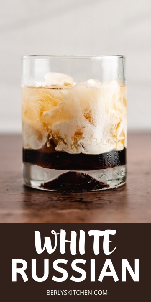 White russian cocktail over ice.