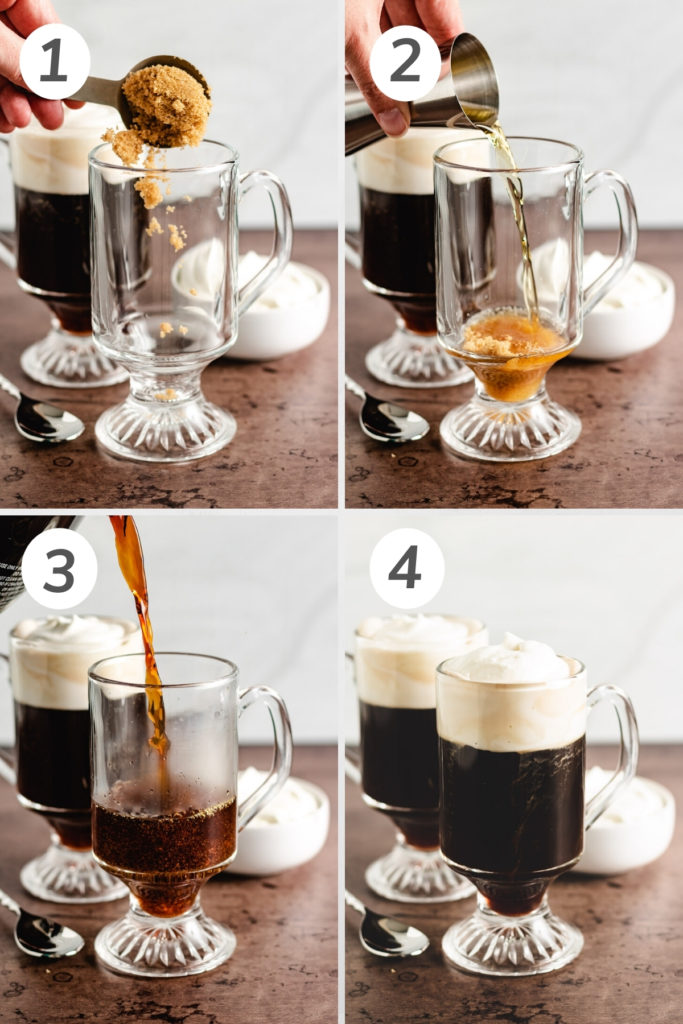 Collage showing how to make irish coffee.