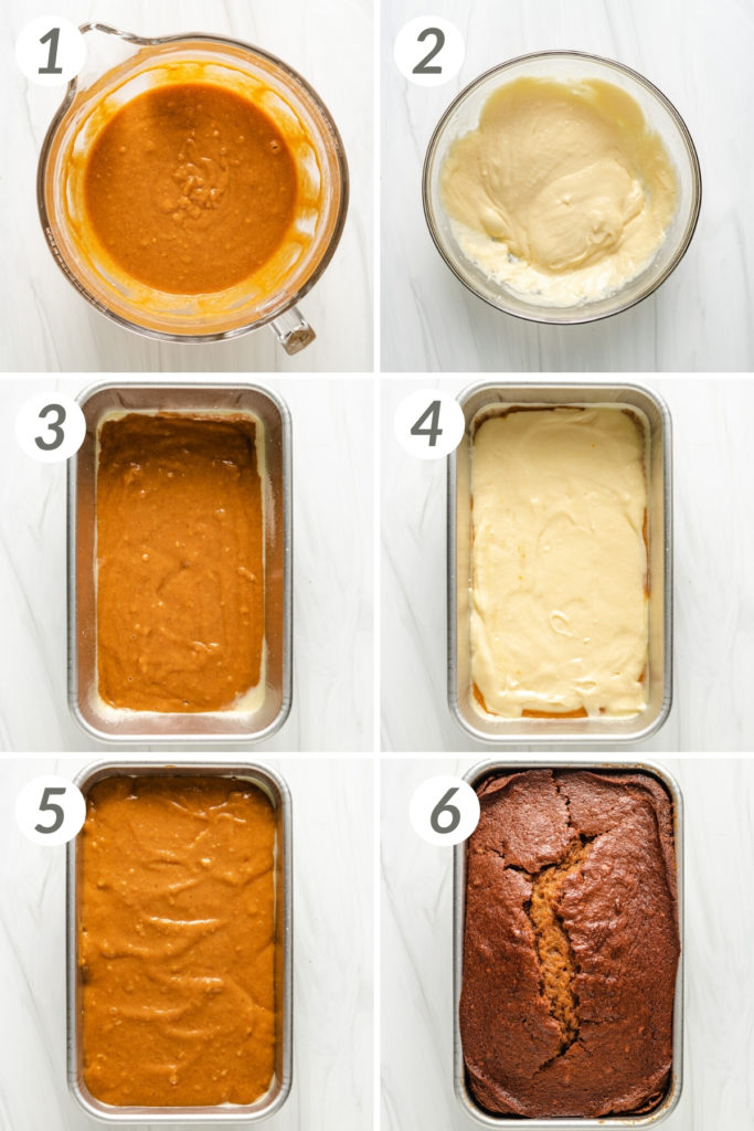Collage showing how to make pumpkin cream cheese bread.