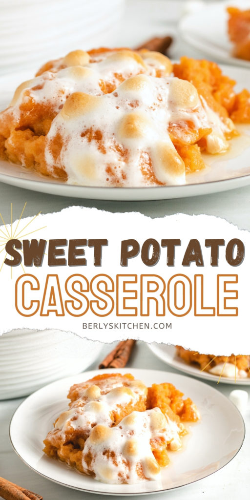 Two photos of sweet potato casserole in a collage.